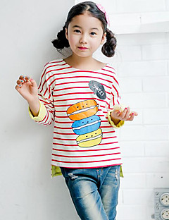 Girl Casual/Daily Sports School Striped Print Blouse,Faux Fur Winter Spring Fall Long Sleeve Regular