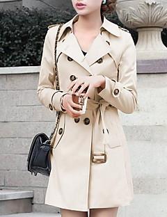 여성 솔리드 긴 소매 트렌치 코트-심플 캐쥬얼/데일리 베이지 블랙 폴리에스테르 가을 중간