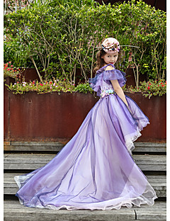 Ball Gown Asymmetrische Flower Girl Dress - Tulle Charmeuse Mouwloze Off-the-Shoulder With Pearl