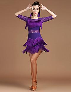Budeme latinské taneční šaty ženy spandex krajky splice polovina rukávu rukáv