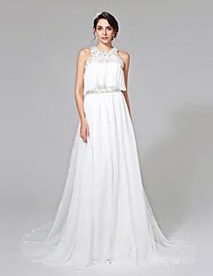 Lanting Bride® גזרת A שמלת כלה  - אלגנטי ויוקרתי שני חלקים שובל כנסייה (צ'אפל) סטרפלס שיפון תחרה עם חרוזים בד נשפך סרט
