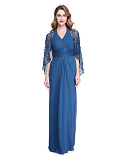 Lanting Bride® מעטפת \ עמוד שמלה לאם הכלה  - שקוף עד הריצפה ללא שרוולים שיפון תחרה  -  קפלים