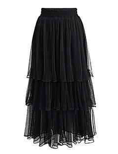 Damen Röcke,Schaukel einfarbigLässig/Alltäglich Hohe Hüfthöhe Midi Elastizität Polyester Unelastisch Riemengurte Sommer