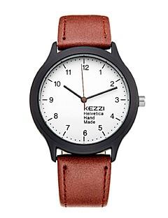 Unisex Modeuhr Armbanduhr Armbanduhren für den Alltag Quartz Japanischer Quartz PU Band Bequem Schwarz Blau Braun Marke KEZZI