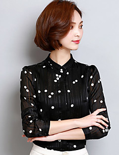 Women's Going out Work Sophisticated Spring Shirt,Polka Dot Print Stand Long Sleeve White Black Polyester Thin