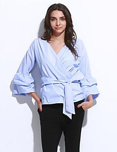 Feminino Camisa Casual Sensual / Moda de Rua Todas as Estações,Sólido / Listrado Azul / Vermelho / Branco Raiom / Poliéster Decote VManga