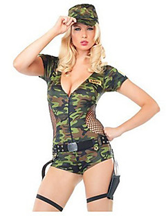 Cosplay Costumes Party Costume Soldier/Warrior Career Costumes Movie Cosplay Green Solid Leotard/Onesie Hat Halloween Carnival Female