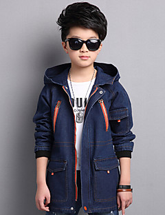 Boy Casual/Daily Solid Trench Coat,Cotton Polyester Spring Long Sleeve