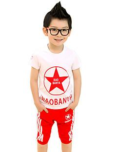 Для мальчиков Наборы На выход На каждый день Хлопок С принтом Пэчворк Лето С короткими рукавами Набор одежды