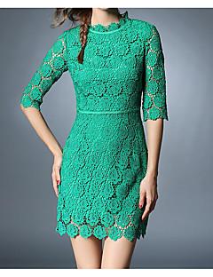 Dámské Čínské vzory Běžné/Denní Práce Bodycon Šaty Jednobarevné,Tříčtvrteční rukáv Kulatý Nad kolena Zelená Modal Jaro Mid RiseLehce