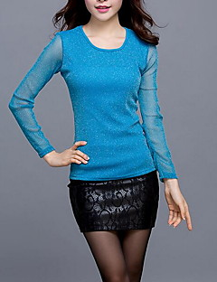 Women's Plus Size Simple Spring T-shirt,Solid Round Neck Long Sleeve Blue Gold Silver Polyester