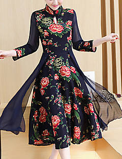 Women's Going out Casual/Daily Holiday Vintage Street chic Chinoiserie Shift Dress,Plaid Stand Maxi Knee-length ¾ Sleeve Acrylic BlackAll