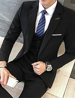 Men's Casual/Daily Work Simple Winter Blazer,Solid Shirt Collar Long Sleeve Regular Cotton Polyester