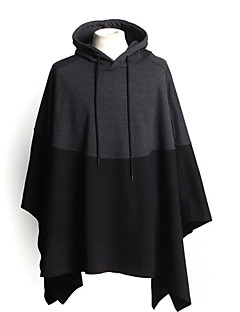 Men's Casual/Daily Simple Hoodie Color Block Round Neck Micro-elastic Cotton Long Sleeve All Seasons