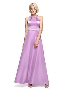 LAN TING BRIDE באורך הקרסול עם תכשיטים שמלה לשושבינה - בלוק צבע ללא שרוולים טפטה