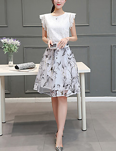 Women's Going out Casual/Daily Holiday Simple Cute Summer Shirt Skirt Suits,Print Round Neck ½ Length Sleeve Polyester Regular