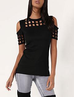 여성 솔리드 라운드 넥 짧은 소매 티셔츠,심플 캐쥬얼/데일리 핑크 레드 블랙 그레이 면 레이온 여름 얇음