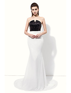 Prom Formal Evening Dress - Color Block Trumpet / Mermaid Notched Floor-length Chiffon with Beading