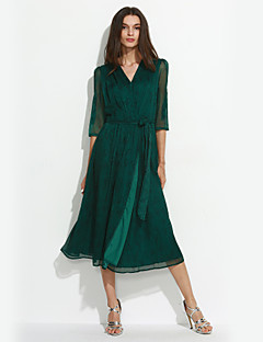 Women's Going out / Casual/Daily Sexy Sheath DressAnimal Print V Neck Midi Short Sleeve Green Polyester Summer