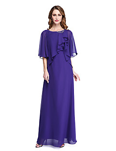 LAN TING BRIDE Sheath / Column Mother of the Bride Dress - Open Back Elegant Floor-length Half Sleeve Chiffon with Beading