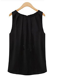 Women's Casual/Daily Simple Spring Summer Tank Top,Solid Round Neck Sleeveless White Black Polyester Translucent Thin