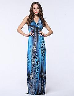 여성 스윙 드레스 비치 보호 프린트,딥 V 맥시 민소매 블루 레드 옐로 폴리에스테르 여름 높은 밑위 약간의 신축성 중간