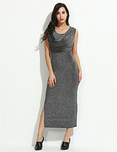 Women's Casual / Party/Cocktail Sexy Bodycon / Sheath Split Dress,Round Neck Maxi Sleeveless Cotton / Polyester