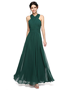 2017 Lanting Bride® Floor-length Chiffon Open Back Bridesmaid Dress - A-line Halter with Sash