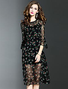 Damen A-Linie Kleid-Ausgehen Übergröße Street Schick Blumen Rundhalsausschnitt Midi ¾-Arm Schwarz Polyester Frühling HerbstMittlere