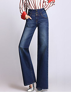 Women's Wide Leg Jeans Pants,Going out Casual/Daily Simple Street chic Solid High Rise Zipper Button Cotton Inelastic Spring