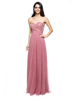 Sheath / Column Sweetheart Floor Length Lace Tulle Bridesmaid Dress with Criss Cross by LAN TING BRIDE®