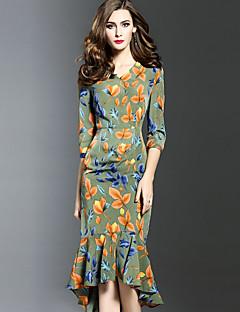 Женский На выход Большие размеры Секси Облегающий силуэт Платье С принтом,V-образный вырез Ассиметричное Рукав ½ Зеленый ПолиэстерВесна