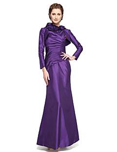 LAN TING BRIDE 트럼펫 / 머메이드 신부 어머니 드레스 - 투피스 발목 길이 민소매 태피터 - 플라워 주름
