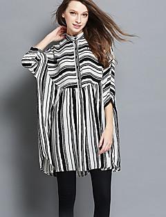 Ample Robe Femme Sortie Plage Grandes Tailles Vintage simple Mignon,Rayé Mao Au dessus du genou Manches ¾ Blanc Noir Polyester Printemps