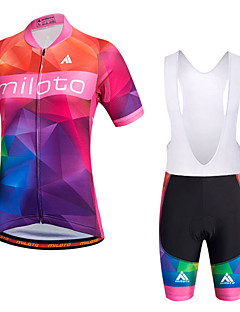 Miloto Cycling Jersey with Bib Shorts Women's Short Sleeve BikeBreathable Quick Dry Moisture Permeability Lightweight Materials 4D Pad