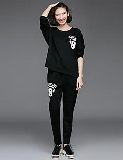 Dames Actief Eenvoudig Casual/Dagelijks Sportief activewear Set Letter Print Oversized Ronde hals Micro-elastisch Nylon Lange mouwLente