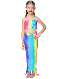 Girl Ruffle Rainbow Swimwear,Cotton Polyester