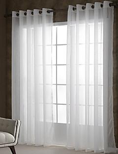 2パネル ウィンドウトリートメント 田舎風 現代風 , 純色 リビングルーム ポリエステル 材料 シアーカーテンシェード ホームデコレーション For 窓