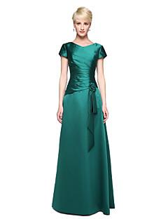 Lanting Bride® עד הריצפה סאטן אלגנטי שמלה לשושבינה  - גזרת A צווארון וי עם פרח(ים) קפלים