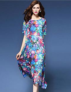 Damen Lose Kleid-Ausgehen Chinoiserie Druck Rundhalsausschnitt Midi Kurzarm Blau Seide Polyester Sommer Mittlere Hüfthöhe Mikro-elastisch