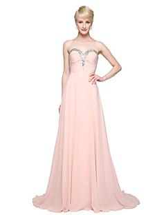 Lanting Bride® עד הריצפה שיפון אלגנטי שמלה לשושבינה  - גזרת A מחשוף לב עם חרוזים קפלים