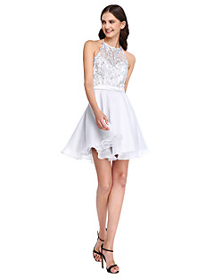 LAN TING BRIDE Curto/Mini Decorado com Bijuteria Vestido de Madrinha - Elegante Sem Mangas Renda Organza