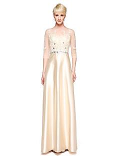 LAN TING BRIDE Floor-length Jewel Bridesmaid Dress - Elegant 3/4 Length Sleeve Lace Stretch Satin