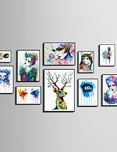 E-HOME® Framed Canvas Art People And Animals Watercolor Painting (1)Theme Series Framed Canvas Print One Pcs