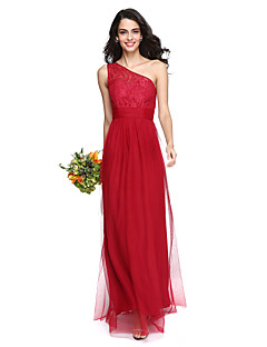 LAN TING BRIDE Floor-length One Shoulder Bridesmaid Dress - Elegant Sleeveless Lace Tulle