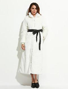 Vrouwen Eenvoudig Winter Bontjas,Grote maten Opstaand-Lange mouw Wit / Zwart Effen Medium Vossenbont
