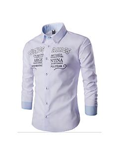 男性 カジュアル/普段着 シャツ,シンプル シャツカラー レタード レッド ホワイト ブラック コットン 長袖