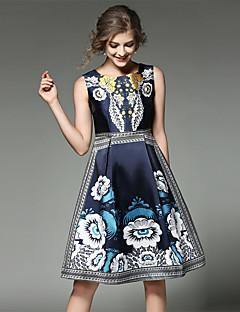 כל העונות כותנה פוליאסטר כחול ללא שרוולים מעל הברך צווארון עגול טלאים וינטאג' סגנון רחוב מתוחכם ליציאה מסיבה\קוקטייל חג שמלה גזרת A נשים,