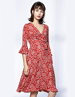 SHYSLILY Women's Going out Sophisticated Sheath DressFloral Ruffle Deep V Knee-length  Length Sleeve Silk Red Black Spring Fall High Rise