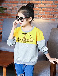 Mädchen T-Shirt Ausgehen Lässig/Alltäglich Urlaub Einfarbig Druck Baumwolle Frühling Herbst Lange Ärmel Normal